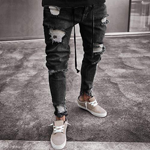 Sfilacciati Da Blau Estivi Elasticizzati Jeans Uomo Pantaloni Slim Aderenti Skinny Fitness Fit Casual Strappati 0qOgpwd