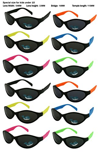 Edge I-Wear 12 Pack Neon Party Sunglasses with UV 400 Lens (Made in Taiwan) (Kid-Sport-Asst, - Low Wayfarer Price Sunglasses