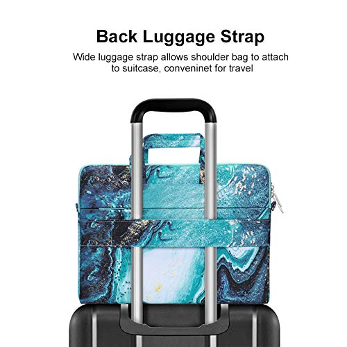 MOSISO Laptop Shoulder Bag Compatible with 13-13.3 inch MacBook Pro, MacBook Air, Notebook Computer, Creative Wave Marble Briefcase Sleeve with Trolley Belt