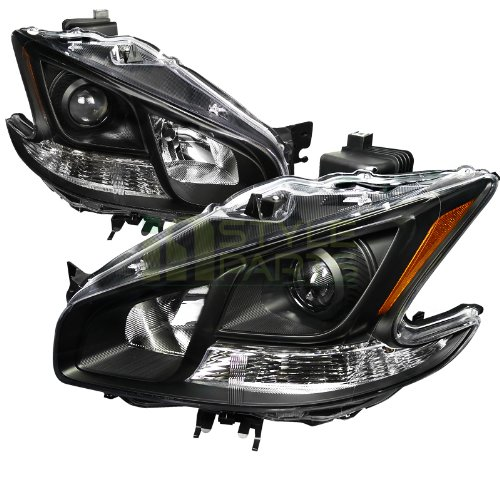Spec-D Tuning 2LHP-MAX09JM-DP Nissan Maxima JDM Black Clear Projector Headlights (Nissan Maxima Projector Headlights)