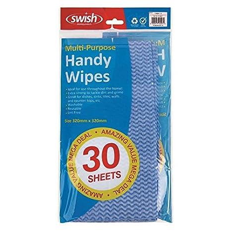 Productos de limpieza Swish unidades 30 azul hojas con asas laterales y asa para toallitas húmedas: Amazon.es: Hogar