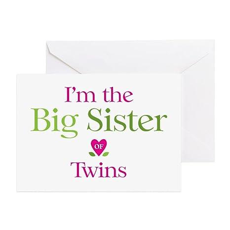 Amazon.com: CafePress – Big Sister de gemelos – Tarjeta de ...