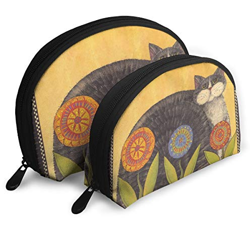 Child Goods Fat Cat With Flower Multi-Functional Portable Bags Clutch Pouch