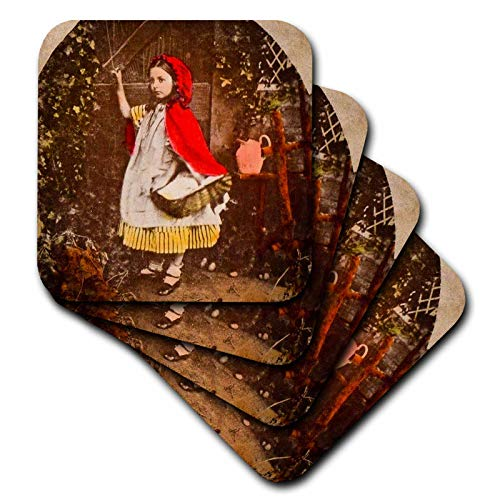 3dRose Scenes from the Past - Stereoview - Little Red Riding Hood Story Stereoview Hand Tinted Vintage - set of 8 Ceramic Tile Coasters (cst_301259_4)