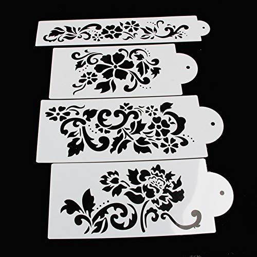 Decorating Stencil (Tangc Lace Flower Cake Cookie Fondant Side Baking Wedding Stencil Decorating DIY Tools (1#))