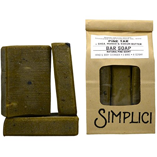 Simplici Pine Tar Bar Soap - With Added Shea Butter, Mango Butter & Kokum Butter. Hand Milled, 4.0 OZ Bars (3 Count)