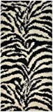 Shaggy Collection Black Off-White Zebra Design Contemporary Modern Shag Area Rug (4203) (3'3″x7′) Review