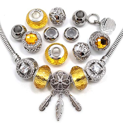YIQIFLY 20pcs Micro-Set Big Hole Rhinestone Beads 100% Real Platinum Plated Copper Charms Fit European Bracelet (Yellow m)