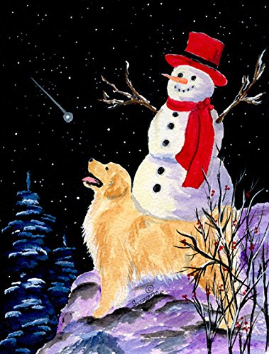 Caroline's Treasures SS8579GF Golden Retriever Flag with Snowman in Red Hat, Small, Multicolor from Caroline's Treasures