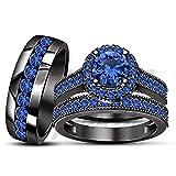ArtLine Jewels 14k Black Gold Finish Trio Blue Sapphire Wedding Ring Engagement Bands Bride Groom Set