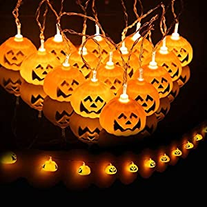 JamBer Halloween Pumpkin Fairy Lights 20LED Pumpkin String Lights 6.9Feet Battery Operated Halloween Lights 3D Halloween Orange Pumpkin Lights for Halloween Party  Decorations,Warm White