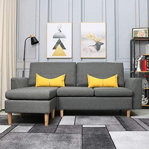 Best Living Furniture Modern Linen Fabric L Shaped Small Space Sectional Sofa With Stool Reversible Chaise In Grey Home Kitchen Amazon Com