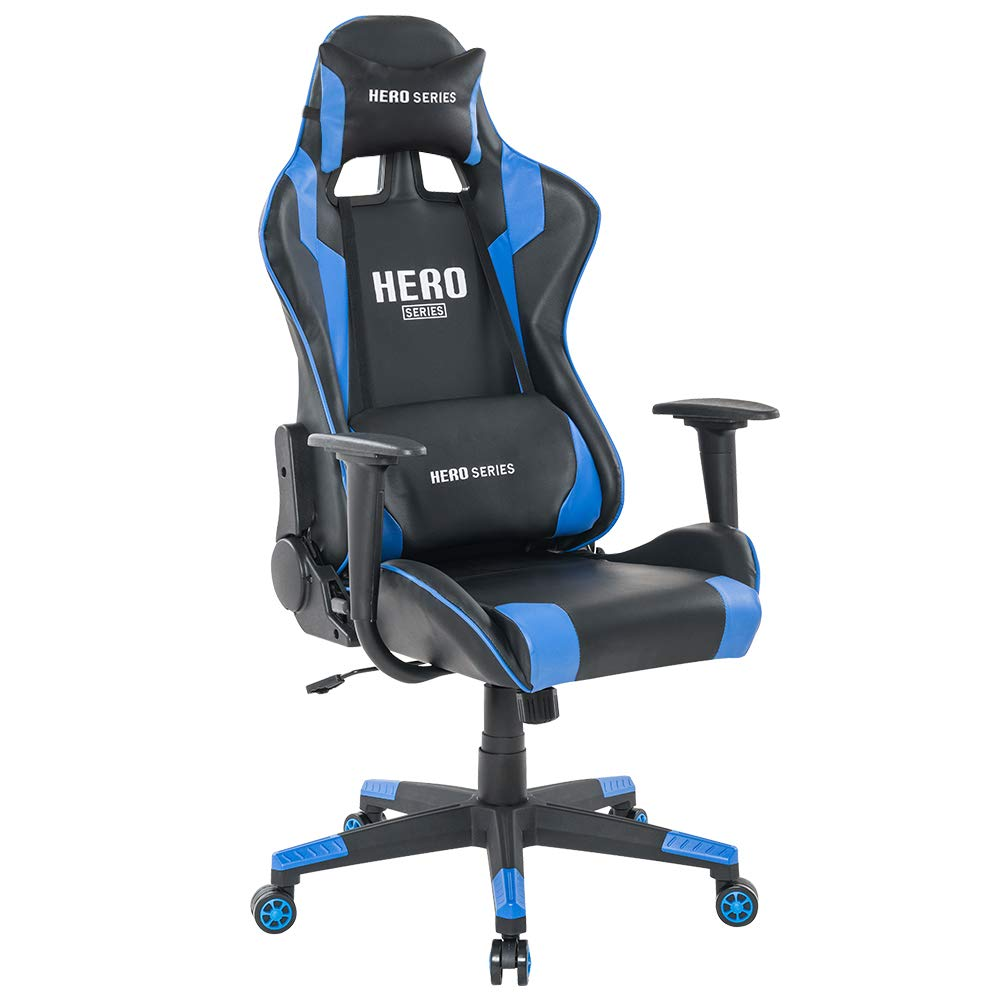 HEYNEMO Gaming Chair, Gaming Computer Chair with Headrest Lumbar Support, Adjustable Swivel Racing Office Computer Game, Blue