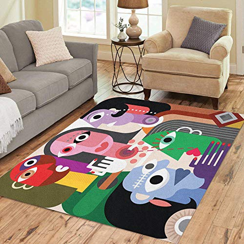 Pinbeam Area Rug Generation Large Family Abstract Picasso Adult Advise Company Home Decor Floor Rug 2' x 3' Carpet
