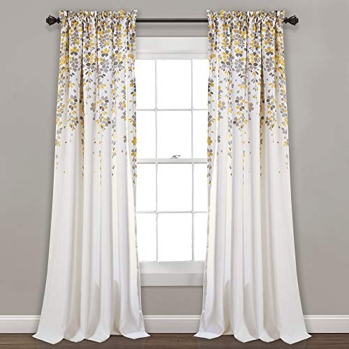 "Lush Decor Weeping Flowers Room Darkening Window Panel Curtain Set (Pair), 84"" x 52"", Yellow and Gray - Cotton Swag Floral"