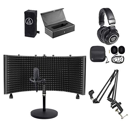 Audio Technica AT4033A Condenser Microphone+Case+Headphones+Shield+Boom+Stand