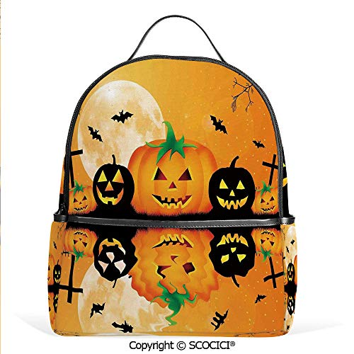 3D Printed Pattern Backpack Spooky Carved Halloween Pumpkin Full Moon with Bats and Grave Lake,Orange Black,Adorable Funny Personalized Graphics