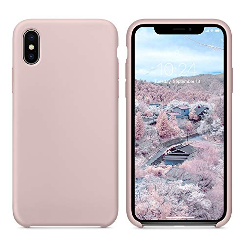 SURPHY Silicone Case for iPhone Xs Max, Slim Liquid Silicone Soft Rubber Protective Phone Case Cover (with Soft Microfiber Lining) Compatible with iPhone Xs Max 6.5, Pink