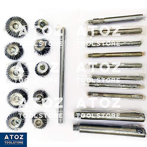 Engine Valve Seat High Carbon Steel Face Cutter Sets 30, 45, 70(20 Bore) Degree Cutters + Pilots + T-Handles + Heavy Metal Box ATOZ (10x HCS Cutter + 8 Pilots)