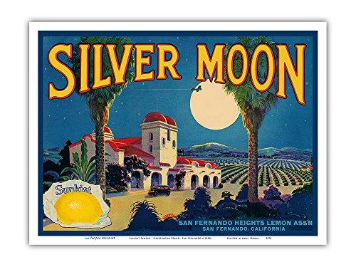 Lemons - Silver Moon Brand - San Fernando, California - Vintage Fruit Crate Label c.1930s Master Art Print 9in x 12in