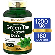EGCG Green Tea Extract Pills | 1200 mg 180 Capsules | Max Potency | Non-GMO & Gluten Free Supplement | by Horbaach