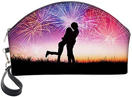 Half Moon Cosmetic Beauty Bag,Silhouette of Happy Young Couple in Love with Fireworks at Night Sky Celebration for Women & Girls School Travel Office