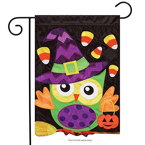 (Carson Trick Or Treat Owl Double Appliqued Garden Flag)