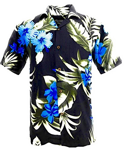 Tropical Luau Beach Floral Print Men's Hawaiian Aloha Shirt (Medium, Black/Blue) (Shirt Tiki Aloha)