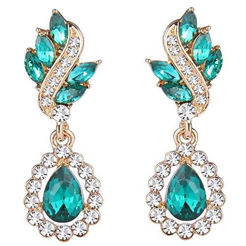 EleQueen Women's Austrian Crystal Art Deco Tear Drop Dangle Earrings Pierced Gold-tone Emerald Color ()