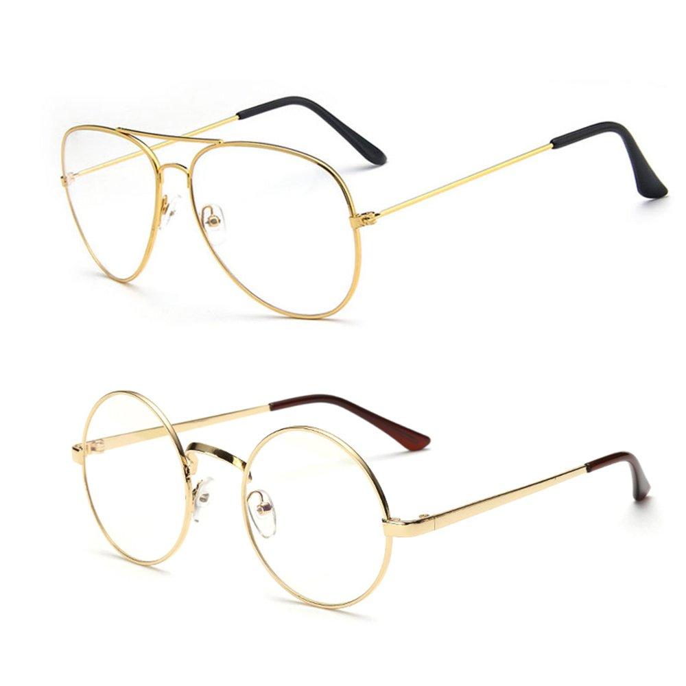 Interlink Retro Runde Brille+Pilotenbrille Mit Fensterglas ohne ...