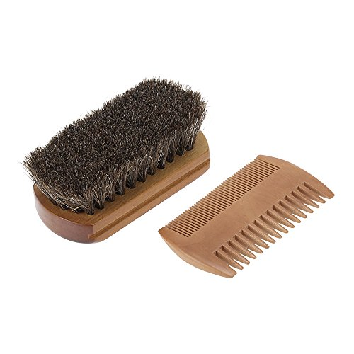 Anself Men's Beard Brush & Comb Kit Horse Hair Mustache Shaving Brush Golden Sandalwood Beard Comb Male Facial Hair Brush Set