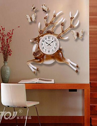 SUNQIAN-European elk vintage clock single watch American living room decoration guabiao, pastoral mute hanging clocks by SUNQIAN