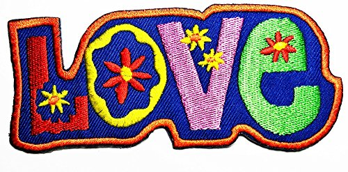 HHO Love, Embroidered Hippie Patch Embroidered DIY Patches, Cute Applique Sew Iron on Kids Craft Patch for Bags Jackets Jeans Clothes (Hippie-diy)