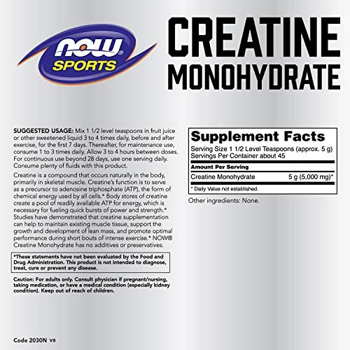 NOW Sports Nutrition, Creatine Monohydrate Powder, Mass Building* Energy Production*, 8-Ounce