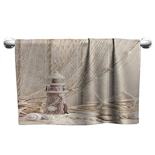 Bensonsve Floral Hand Towels Fishing Net Decor,Marine Theme Sea Stars and Shells Underwater Life Wooden Lighthouse,Beige Cream,Microfiber Towel for Hair Curly