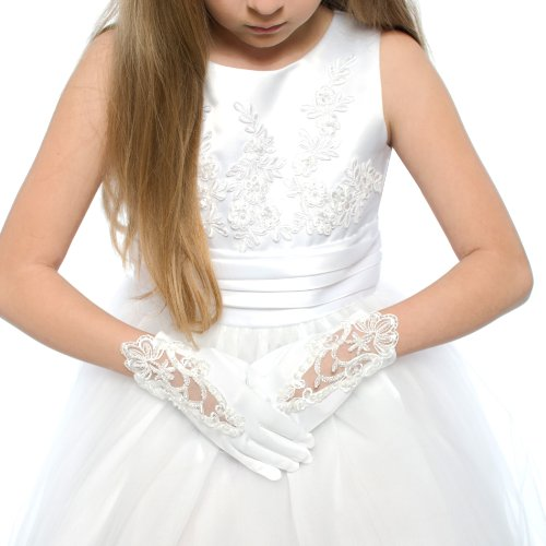 DressForLess Embroidered Lace First Communion Girls Glove, White, 8-14, -