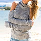 Wobuoke Women Fashion Solid Cold Shoulder Sexy Long Sleeve Top Knitted Turtleneck Sweater Strapless Blouse