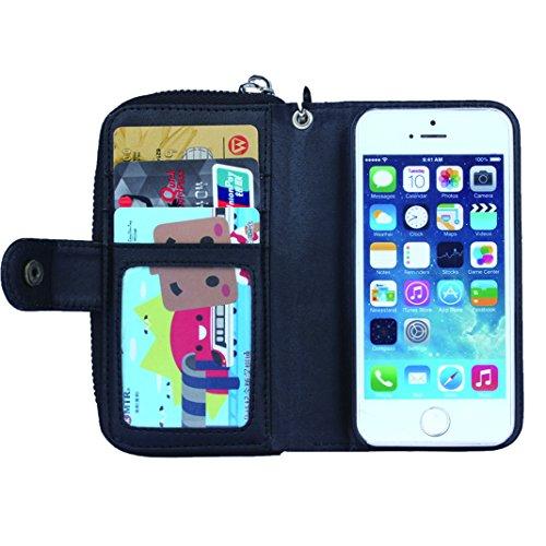 OuDu Reißverschluss Hülle für iPhone 5/5S Unabhängige Abnehmbare Silikon Schutzhülle Klapp Etui PU-Leder Hülle Mappen Kasten Brieftasche Weiche Glatte Ledertasche Flip Wallet Case Cover Folio Holster