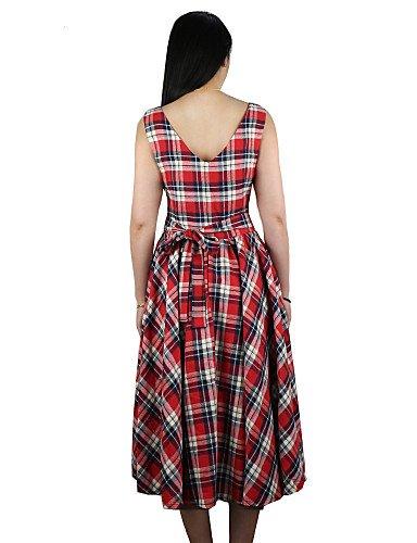 PU&PU Robe Aux femmes Grandes Tailles / Vintage Mi-long Coton , blue-m , blue-m