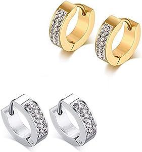 KARAY Stainless Steel Womens Mens Hoop Earrings Huggie Earrings CZ Piercings Hypoallergenic 18G