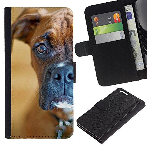 EuroCase - Apple Iphone 6 PLUS 5.5 - boxer staring shorthair brown dog - Cuero PU Delgado caso cubierta Shell Armor Funda Case Cover