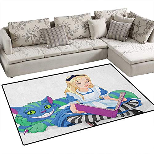 (in Wonderland,Floor Mat,Alice Reading Book Cat Colorful World Happiness Love Character Image,Rugs for Bedroom,Multicolor Size:36