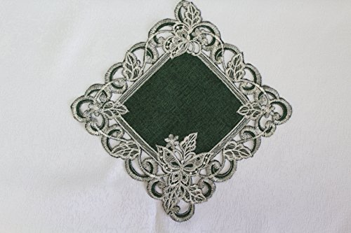 Doily Square with White Butterflies on Hunter Green Burlap Linen Fabric, Size 7 inches (Table Hunter Lamp Green)