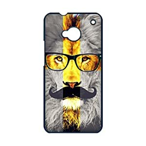 HTC ONE M7 Case,Lion Cross With Giant Mustache And Fashion Glasses Personalized Design Cover With Hign Quality Hard Plastic Protection Case