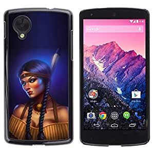 Design for Girls Plastic Cover Case FOR LG Nexus 5 D820 D821 Indian Woman Feather Long Braid Boobs OBBA