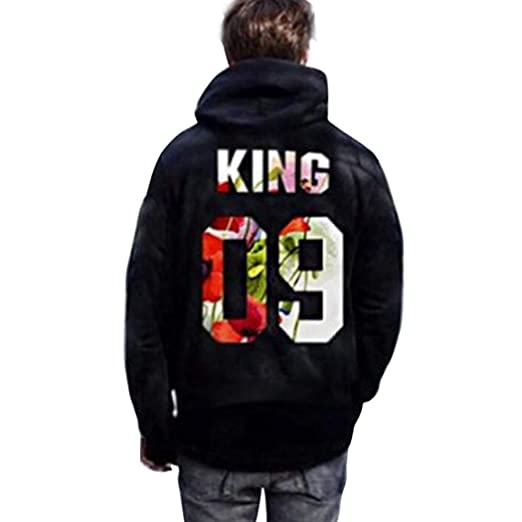 f8599f9cb1 Jingjing1 Couple Matching King and Queen Letters Printed Pullover Hooded  Sweatshirt (S, King)