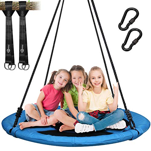 Trekassy 700lb Saucer Tree Swing for Kids Adults 40 Inch 900D Oxford Waterproof Frame Includes 2 Tree Hanging Straps (Best Way To Attach A Swing To A Tree)