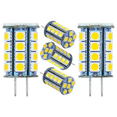 .35/GY6.35 Bi-pin Base T4 JC Type 5Watt Lighting Equivalent 35W-40W Halogen Bulbs, AC 12V (DC10-24V) Daylight White 6000K LED Bulbs for Accent Lights, Landscape Lighting (5-Pack) ()