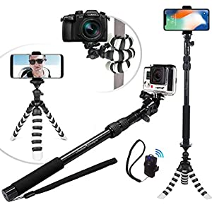 NEW HD Flexible Tripod & Selfie Stick 4-in-1 Bundle w/ Bluetooth Remote – Best Universal Creator Vlog Kit for Any Phone, GoPro or Camera: iPhone X 8 7 6 Plus, Samsung S8, Hero 5, Powershot etc.
