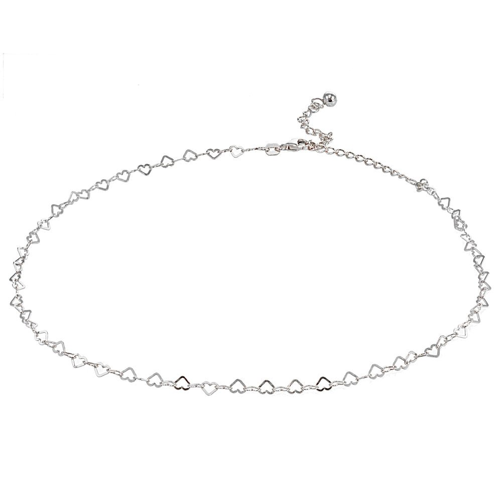 Sterling Silver Open Heart Italian Chain Choker Necklace